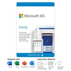 Microsoft 365 family package. 6 users, 12 months, pc/mac/mobile apps, cloud storage and security