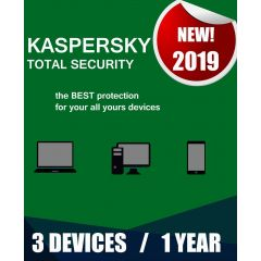 Kaspersky Total Security 2019 | 3 Devices | 1 Year | PC/Mac/Android