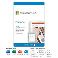 Microsoft 365 Personal - 1 user, 12 months, pc/mac/mobile apps, cloud storage and security