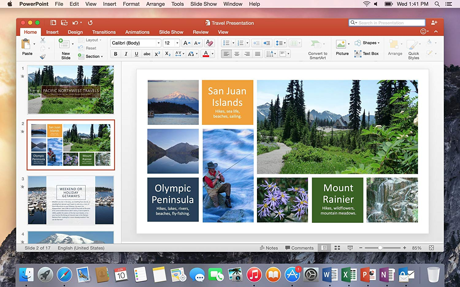 Mac Business 2016 PowerPoint in action