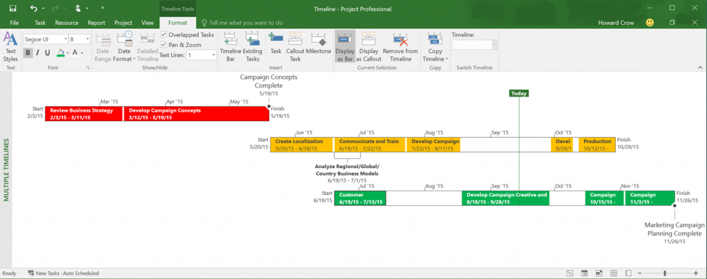 timeline with office 2016
