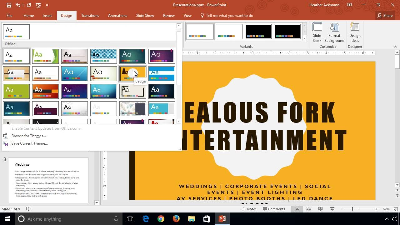 PowerPoint 2016 desktop