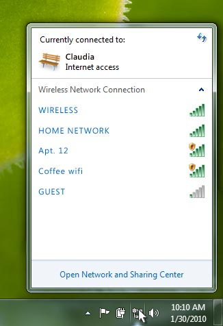 Wifi network menu