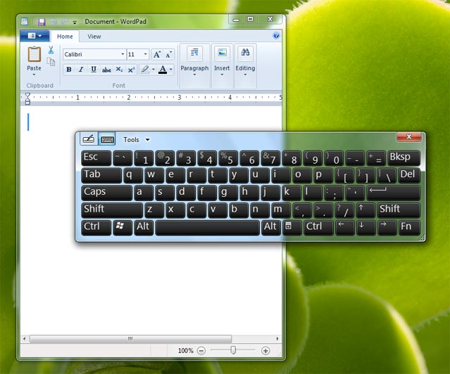 windows 7 virtual keyboard